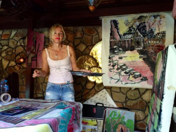 Sylke working outside - studio in Cambodia